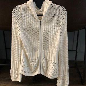 CAbi Bright White, Cotton,Crocheted Cardigan